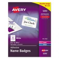 Flexible Self-Adhesive Laser/inkjet Name Badge Labels, 2 1/3 X 3 3/8, We, 400/bx