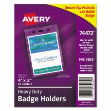 Secure Top Heavy-Duty Badge Holders, Vertical, 3w X 4h, Clear, 25/pack