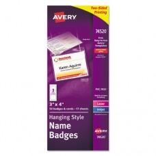 Neck Hang Badge Holder W/laser/inkjet Insert, Top Load, 3 X 4, White, 50/bx