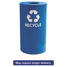 Indoor/outdoor Round Steel Recycling Receptacle, 33gal, Blue