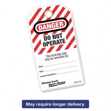 Heavy-Duty Laminated Safety Tags, Polyester Laminate, Red/white