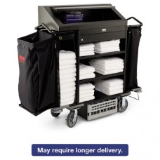 Deluxe High-Security Housekeeping Cart, Four-Shelf, 22w X 55d X 56h, Black
