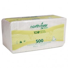 North River Luncheon Napkins, 1 Ply, 11 1/4 X 12 1/2, White, 500/pk, 6000/crtn