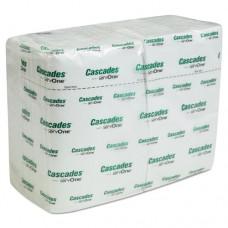 Cascades For Servone Napkins, 1-Ply, 6 1/2 X 4 1/4, White, 376/pk, 6016/carton