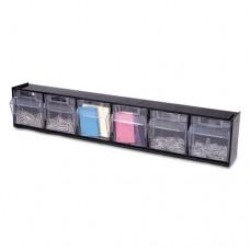 Tilt Bin Plastic Storage System W/6 Bins, 23 5/8 X 3 5/8 X 4 1/2, Black