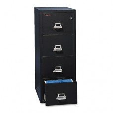 Four-Drawer Vertical File, 17-3/4w X 25d, Ul Listed 350 For Fire, Letter, Black