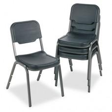 Rough N Ready Series Original Stack Chair, Resin, Black/gray, 4/carton