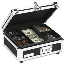 Plastic & Steel Cash Box W/tumbler Lock, Black & Chrome