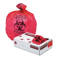 "Health Care ""biohazard"" Printed Liners, 1.35 Mil, 36 X 58, Red, 100/carton"