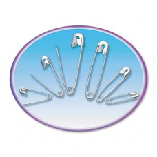 Safety Pins, Nickel-Plated, Steel, Assorted Sizes, 22/pack