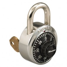 """Combination Stainless Steel Padlock W/key Cylinder, 1 7/8"""" Wide, Black/silver"""