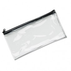 Leatherette Zippered Wallet, Leather-Like Vinyl, 11w X 6h, Clear