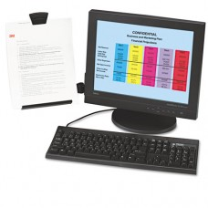 Clip Copyholder, Flat Panel Monitor Mount, Plastic, Holds 35 Sheets, Black/clear