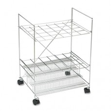 Chrome Wire Roll File, 24 Compartments, 24w X 17-1/4d X 31-3/4h