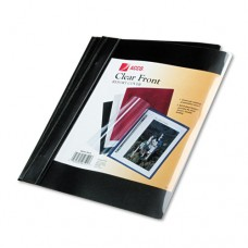 """Vinyl Report Cover, Prong Clip, Ltr, 1/2""""capacity, Clear Cover/black Back, 10/pk"""