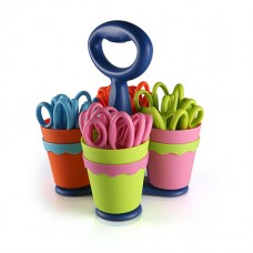 """School Scissor Caddy and 24 Kids Scissors With Microban, 5"""" Pointed"""
