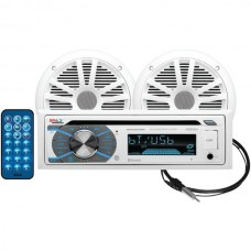 Marine Single-DIN In-Dash MP3-Compatible CD AM/FM Receiver with Bluetooth(R) & 2 Speakers
