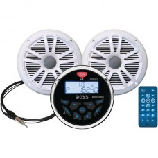 Marine-Gauge System with In-Dash Mechless AM/FM Receiver, Speakers & Antenna (White Speakers)