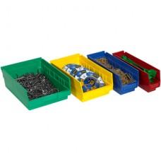 "17 7/8"" x 11 1/8"" x 4"" Green Plastic Shelf Bin Boxes"
