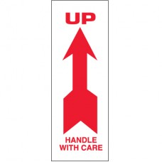 """2"""" x 8"""" - """"Up - Handle With Care"""" Arrow Labels"""