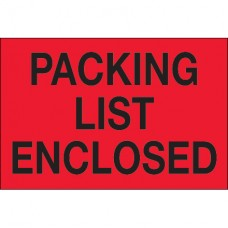"""2"""" x 3"""" - """"Packing List Enclosed"""" (Fluorescent Red) Labels"""