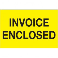 """2"""" x 3"""" - """"Invoice Enclosed"""" (Fluorescent Yellow) Labels"""