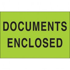 """2"""" x 3"""" - """"Documents Enclosed"""" (Fluorescent Green) Labels"""