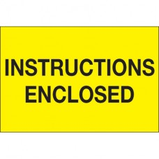 """2"""" x 3"""" - """"Instructions Enclosed"""" (Fluorescent Yellow) Labels"""