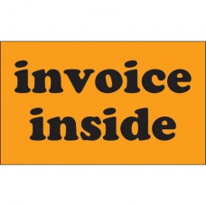 "3"" x 5"" - ""Invoice Inside"" (Fluorescent Orange) Labels"