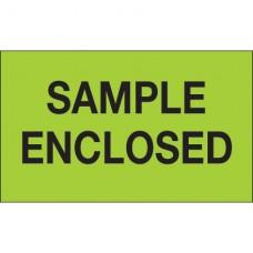 "3"" x 5"" - ""Sample Enclosed"" (Fluorescent Green) Labels"
