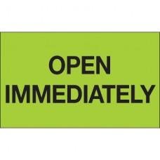"""3"""" x 5"""" - """"Open Immediately"""" (Fluorescent Green) Labels"""
