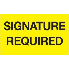 """3"""" x 5"""" - """"Signature Required"""" (Fluorescent Yellow) Labels"""