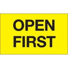 """3"""" x 5"""" - """"Open First"""" (Fluorescent Yellow) Labels"""