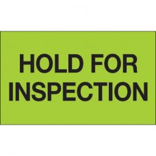 """3"""" x 5"""" - """"Hold For Inspection"""" (Fluorescent Green) Labels"""