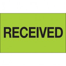"""3"""" x 5"""" - """"Received"""" (Fluorescent Green) Labels"""