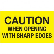"""3"""" x 5"""" - """"Caution When Opening With Sharp Edges"""" (Fluorescent Yellow) Labels"""