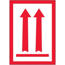 """3"""" x 5"""" - (Two Red Arrows Over Red Bar) Arrow Labels"""