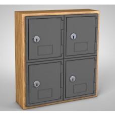 Light Oak, Grey Door, 4 Door, Keyed Lock Surface Mount Wood and ABS Cell Phone Locker