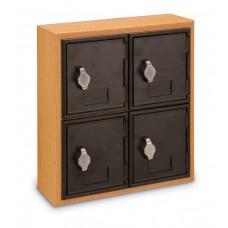 Light Oak, Black Door, 4 Door, Hasp Lock Surface Mount Wood and ABS Cell Phone Locker
