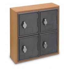 Light Oak, Grey Door, 4 Door, Hasp Lock Surface Mount Wood and ABS Cell Phone Locker