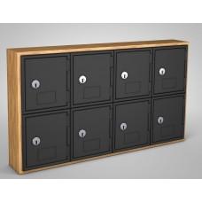 Light Oak, Black Door, 8 door, Keyed lock Surface Mount Wood and ABS Cell Phone Locker