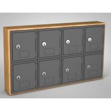 Light Oak, Grey Door, 8 Door, Keyed Lock Surface Mount Wood and ABS Cell Phone Locker