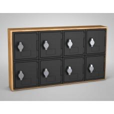 Light Oak, Black Door, 8 Door, Hasp Lock Surface Mount Wood and ABS Cell Phone Locker
