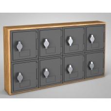 Light Oak, Grey Door, 8 Door, Hasp Lock Surface Mount Wood and ABS Cell Phone Locker