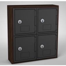 Walnut, Black Door, 4 door, Keyed lock Surface Mount Wood and ABS Cell Phone Locker