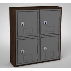 Walnut, Grey Door, 4 Door, Keyed Lock Surface Mount Wood and ABS Cell Phone Locker