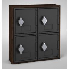 Walnut, Black Door, 4 Door, Hasp Lock Surface Mount Wood and ABS Cell Phone Locker