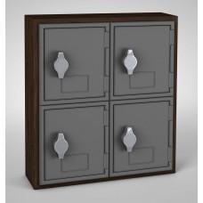 Walnut, Grey Door, 4 Door, Hasp Lock Surface Mount Wood and ABS Cell Phone Locker