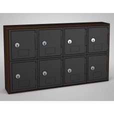 Walnut, Black Door, 8 door, Keyed lock Surface Mount Wood and ABS Cell Phone Locker