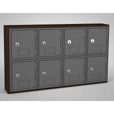 Walnut, Grey Door, 8 Door, Keyed Lock Surface Mount Wood and ABS Cell Phone Locker
